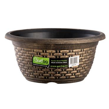 RUSTIC BOWL PLANTER BLACK & BRONZE 30CM
