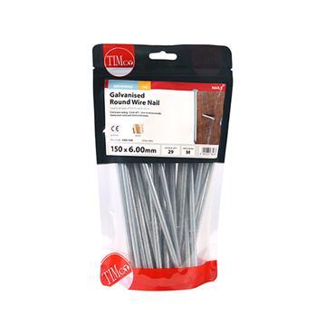 Timco 150mm Glavanised Round Wire Nails 1kg   GRW150B