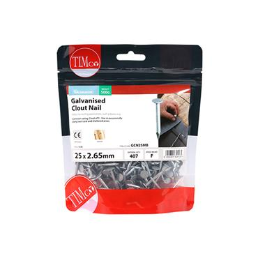 Timco 25mm Galvanised Clout Nails 500g   GCN25MB