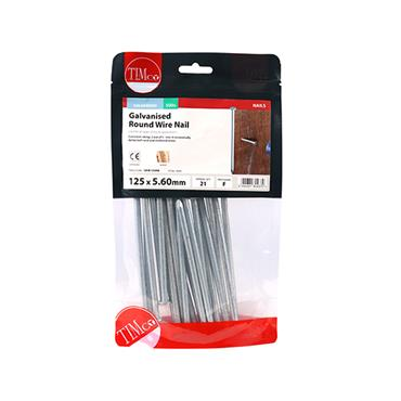 Timco 125mm Galvanised Round Wire Nails 500g   GRW125MB