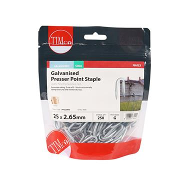 Timco Presser Point Fencing Staples - Galvanised 25mm x 2.65mm 500g   PPS25MB
