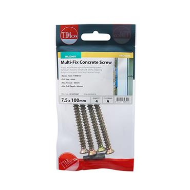 Multi-Fix Concrete Screws - TX30 - Flat Countersunk 7.5 x 100MM 4 PACK | 00100TCONP