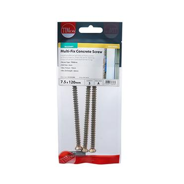 Multi-Fix Concrete Screws - TX30 - Flat Countersunk 7.5 x 120MM 3 PACK | 00120TCONP
