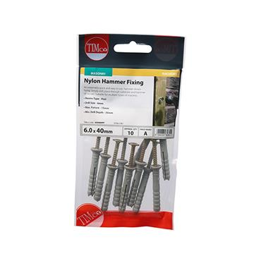 Timco Nylon Hammer Fixings - PZ - Yellow 6.0 x 40mm 10 Pack | 60040HFP