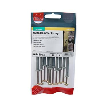 Timco Nylon Hammer Fixings - PZ - Yellow 6.0 x 80mm 10 Pack | 60080HFP