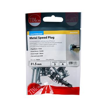 Timco Metal Speed Plasterboard Plugs & Screws - Zinc 31.5mm 5 Pack