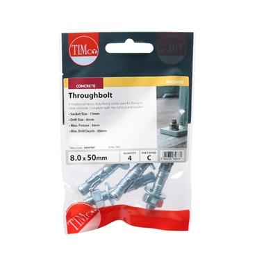 Throughbolts - Zinc M8 x 50mm 4 Pack | 0850TBP