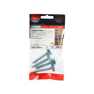 Timco Coach Screws - Hex - Zinc 10.0 x 50mm 4 Pack | 1050CSCP