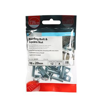 Timco Roofing Gutter Bolts & Square Nuts - Zinc M6 x 20mm 12 Pack | 0620RBP
