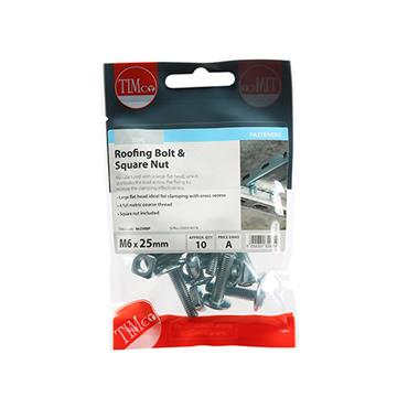 Timco Roofing Gutter Bolts & Square Nuts - Zinc M6 x 25mm 10 Pack | 0625RBP