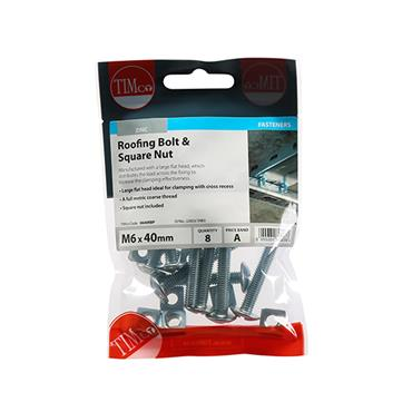 Timco Roofing Gutter Bolts & Square Nuts - Zinc M6 x 40mm 8 Pack | 0640RBP