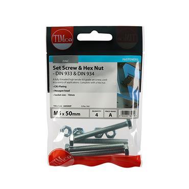 Timco Hex Head Bolts & Hex Nuts - Grade 8.8 - Zinc M6 x 50mm 4 Pack | 650SNZP