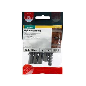 Timco Nylon Wall Plugs 10.0 x 50mm 5 Pack | 10NLPP