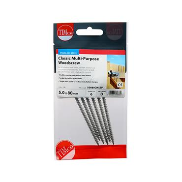 Timco PZ Stainless Steel 5.0 x 80mm 6 Pack | 50080CHSSP