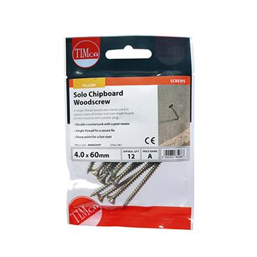 Timco Woodscrews - PZ - Countersunk - Yellow 4.0 x 60mm 12 Pack   40060CHYP