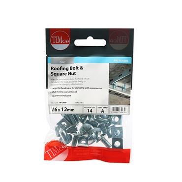 Timco Roofing Gutter Bolts & Square Nuts - Zinc M6 x 12mm 14 Pack | 0612RBP