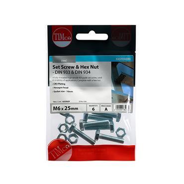 Timco Hex Head Bolts & Hex Nuts - Grade 8.8 - Zinc M6 x 25mm 6 Pack | 625SNZP