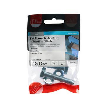 Timco Hex Head Bolts & Hex Nuts - Grade 8.8 - Zinc M10 x 50mm 2 Pack | 1050SNZP