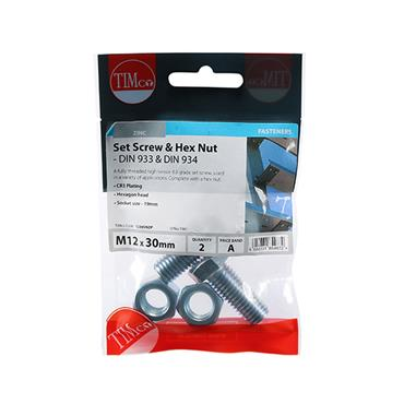 Timco Hex Head Bolts & Hex Nuts - Grade 8.8 - Zinc M12 x 30mm 2 Pack | 1230SNZP