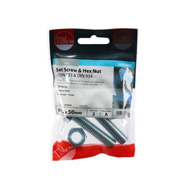 Timco Hex head Bolts & Hex Nuts - Grade 8.8 - Zinc M12 x 50mm 2 Pack | 1250SNZP
