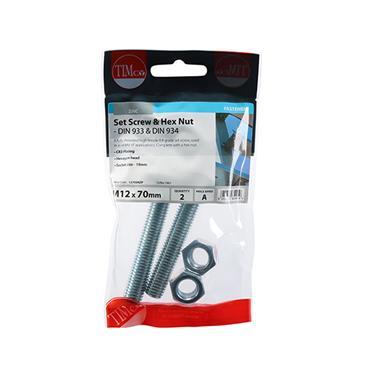 Timco Hex Head Bolts & & Hex Nuts - Grade 8.8 - Zinc M12 x 70mm | 1270SNZP