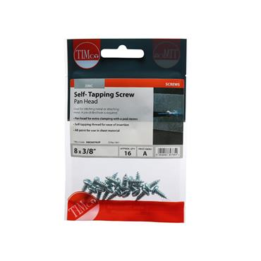 "Timco Self-Tapping Screws - PZ - Pan - Zinc 8 x 3/8"" 16 Pack   00838CPAZP"