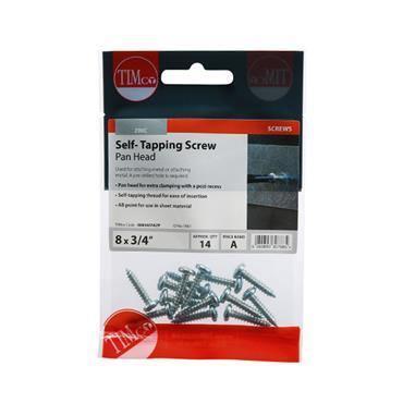 "Timco Self-Tapping Screws - PZ - Pan - Zinc 8 x 3/4"" 14 Pack   00834CPAZP"
