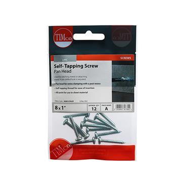 "Timco Self-Tapping Screws - PZ - Pan - Zinc 8 x 1"" 12 Pieces   00081CPAZP"