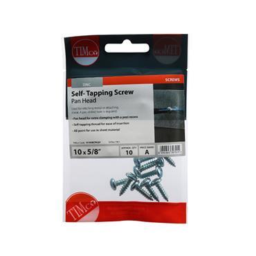 "Timco Self-Tapping Screws - PZ - Pan - Zinc 10 x 5/8"" 10 Pack   01058CPAZP"