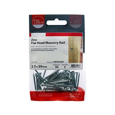 Timco Masonry Steel Nails 2.5 x 30mm 50 Pack   HM25030P