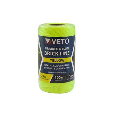 Veto Nylon Brick Line - Tube - Yellow 1.5mm x 100 meter   YBL100T