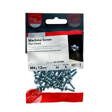 Machine Screws - PZ - Pan - Zinc M4 x 12mm 40 Pack | 4012PPMP