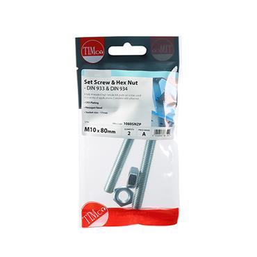 Timco Hex Head Bolts & Hex Nuts - Grade 8.8 - Zinc M10 x 80mm 2 Pack | 1080SNZP