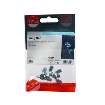 Wing Nuts - Zinc M8 4 Pack | NW8ZP