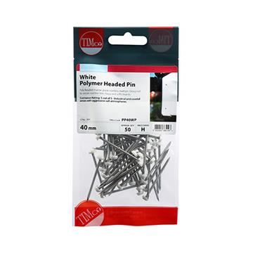 Poly Headed Pins - Stainless Steel - White 40mm 50 Pack   PP40WP