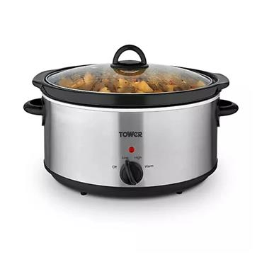 Tower 5.5 Litre Slow Cooker - Stainless Steel   71527