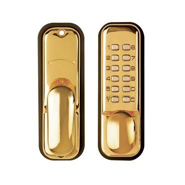 Tessi Digital Push Button Door Lock Easy Code - Brass | TKYBLEASYBB
