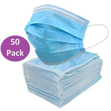BLUE DISPOSABLE FACE MASK 3 PLY 50 PACK 175MM X 95MM