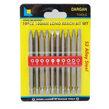 Dargan 10 Piece Long Reach bit Set 100mm   SD10/DT