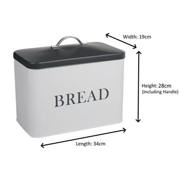 Lift Lid Bread Bin 34cm - White with Grey Lid | TE1006