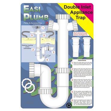 "Easi Plumb 1 1/2"" Appliance Trap Double Inlet with 3"" Seal (Washing Machine / Dishwasher) | EP112PHU"