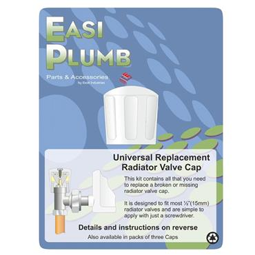 Easi Plumb Universal Replacement Radiator Value Cap Head - White | EPRRH1