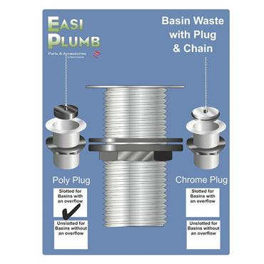 """Easi Plumb 1 1/4"""" Poly Basin Sink Waste with Plug & Chain 