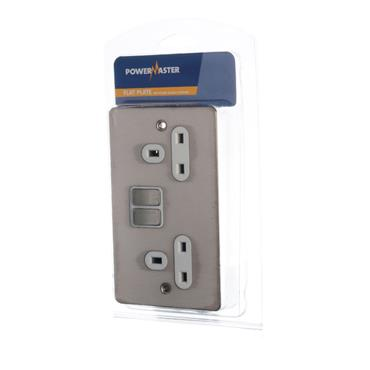 Powermaster 2 Gang 13amp Switched Double Socket - Brushed Satin | 1738-12