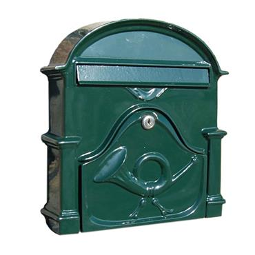The Al Small Cast Aluminium Letterbox Postbox - Fir Green