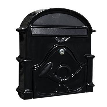 The Al Small Cast Aluminium Letterbox Postbox - Gloss Black