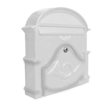 The Al Small Cast Aluminium Letterbox Postbox - Signal White