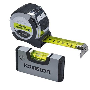 Komelon PowerBlade II Pocket Tape 5m/16ft (Width 27mm) with Mini Level | XMS19TAPELEV