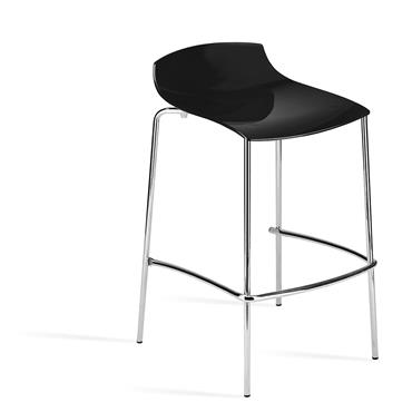 Milano High Stool Black with low back
