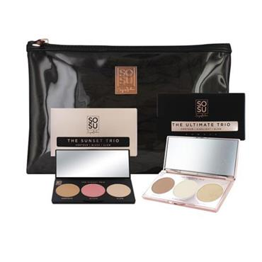 SOSU ULTIMATE  HIGHLIGHT & BLUSH  CONTOUR SUNSET TRIO & BAG GIFT SET